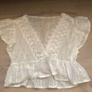 White ruffle detail blouse